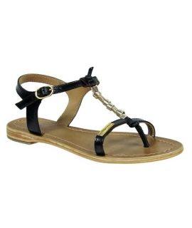 Nu-Pieds Les Tropéziennes Vanille noir | sandale salomé bijoux dorés
