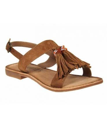 Playa Ephémère for Ever Alifa tan | Nu pieds pompons et perles style ethnique