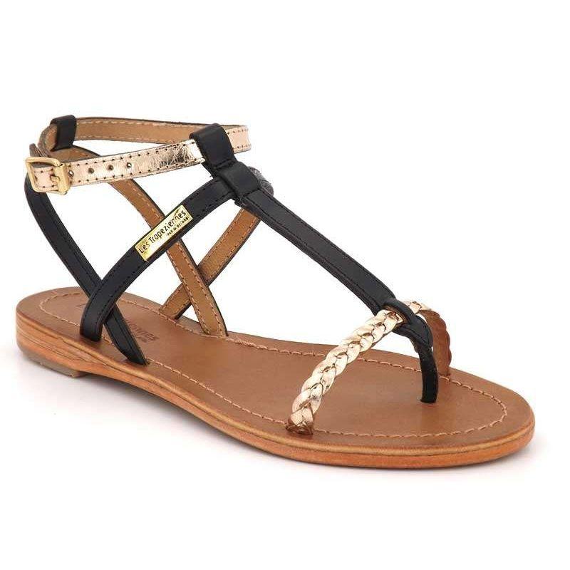 Sandales Les Tropéziennes Hilatres noir or | Nu pieds