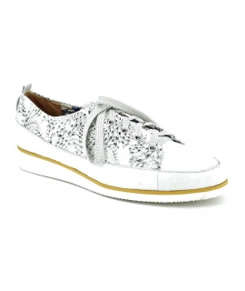 Baskets / derbies Fugitive Riga en cuir blanc impression fantaisie