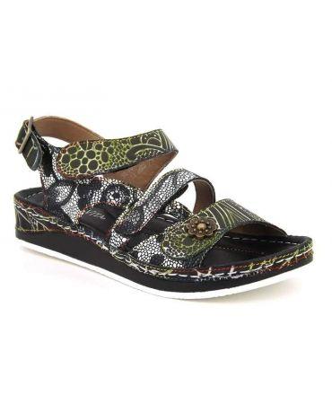Sandale à velcro Laura Vita Bruel 068 noire