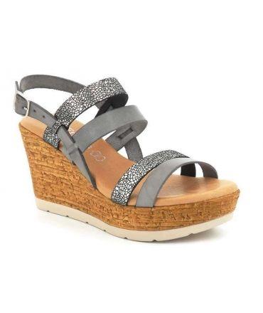 Sandale compensée Eva Frutos 8630 en cuir naturel gris (plomb)