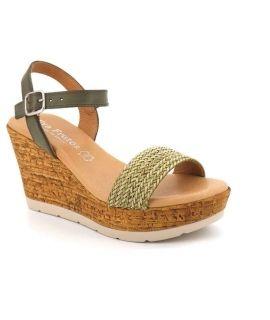 Sandale à talon compensé Eva Frutos 8602 kaki