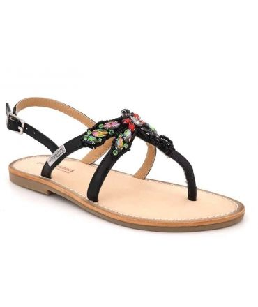 Nu pied cuir entre doigts Les Tropéziennes Libelle noir