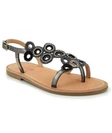 Chaussures femmes Les Tropéziennes Oups étain, sandale perle et strass