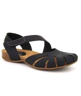Sandale bout fermé 4456 Inter Bios noire | Nu pied confort cuir naturel
