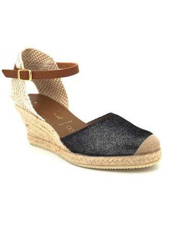 Sandale compensée cordes Kedzaro Antona noir irisé