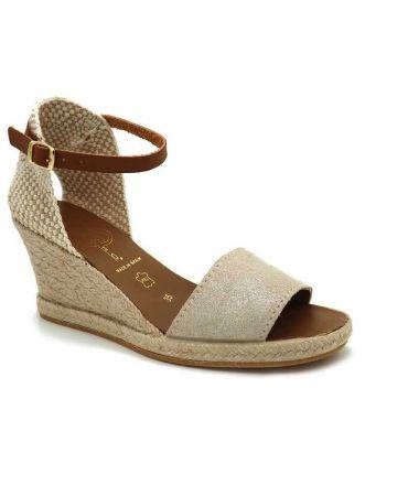 Kedzaro Joja beige, sandale cordes compensée