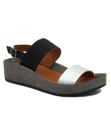 Sandale Métamorf'Ose Cancale noire argent | Compensé confortable