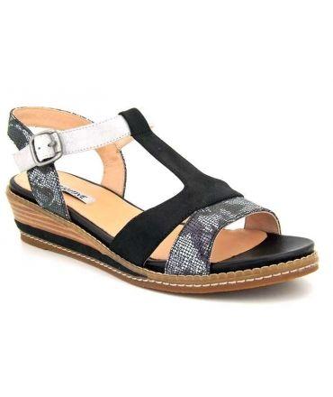 Sandale femme Fugitive Bengal noir, petit compensé