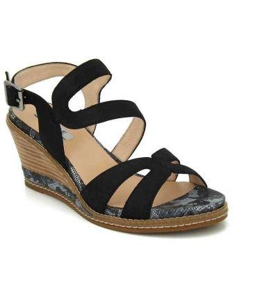 Sandale compensée Fugitive Ibys noir, nouveauté chaussures femmes