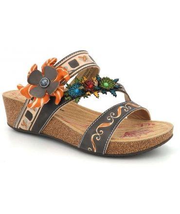 Mules Laura vita Bingo 01 marron multi, sandale fantaisie femmes