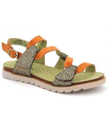 Sandale Laura Vita Dorry 01 Orange vert, nu pieds double velcro