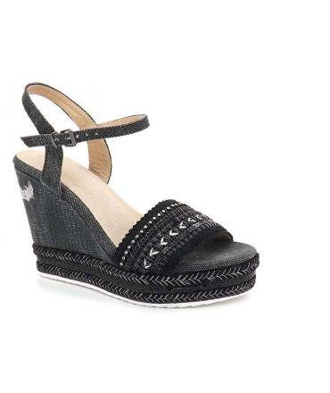 Sandale compensée femme Kaporal Tali noire