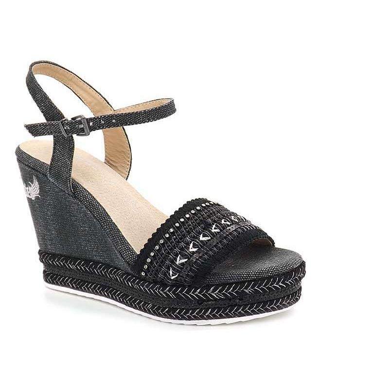 Chaussure Pieds Tali Sandale Kaporal Compensée Femmes NoireNu y8mPN0nvwO