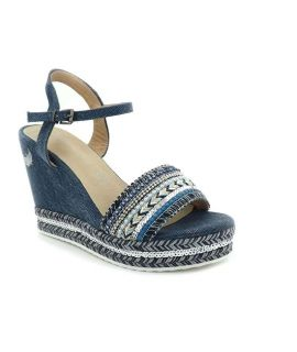 Sandale compensée kaporal Tali bleu, nouveauté chaussures femmes