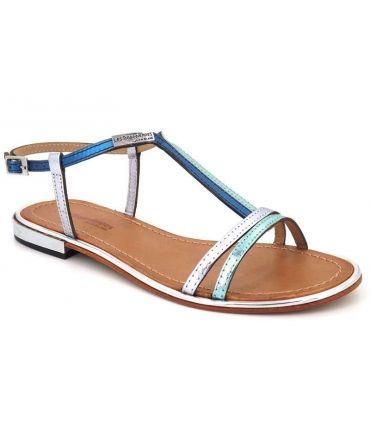 Sandale femme Les Tropéziennes Brune bleu ciel