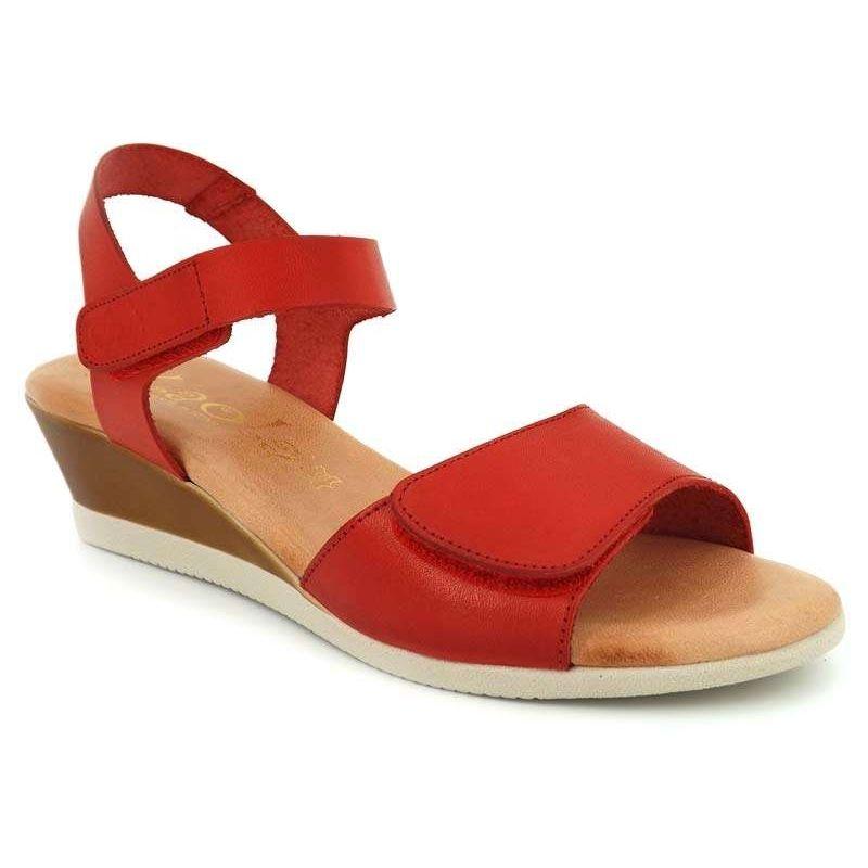 0a59f1979ef382 Sandale pieds sensibles Kaola 450 rouge, fermeture velcro. Loading zoom