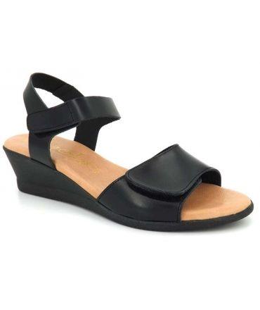 Sandale petit compensé Kaola 450 noir | Fermeture scratch