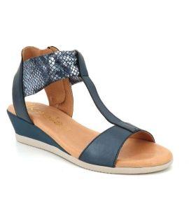 Sandale petit compensée Kaola 445 Cap/Ben bleu | Nu pied cuir aspect serpent