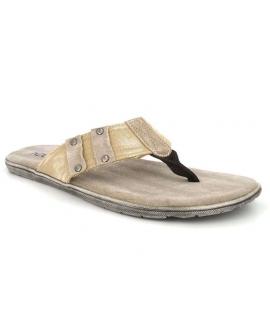 Tong cuir Kdopa Edimbourg beige, nouveauté chaussures hommes