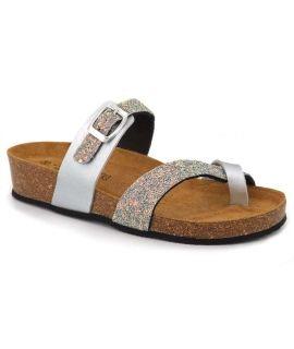 Nu pieds tongs pour femmes Kedzaro Lio Glitter gris
