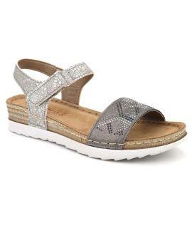 Sandale confort Inblu OF062E14 gris + strass pour femmes