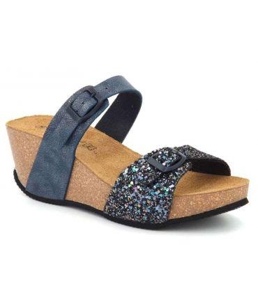 Nus pieds Kedzaro Lora Bleu | Mule pour femmes compensée bio