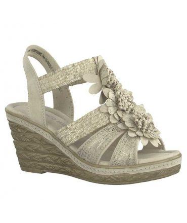 Nu pied compensé Marco Tozzi sandale plateforme 28302-22 beige métal, fermeture par élastique
