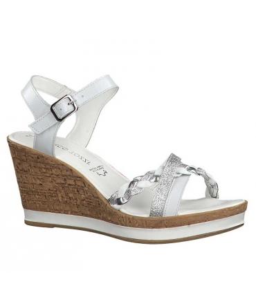 Marco Tozzi sandale compensée à plateforme en cuir 28360-32 blanche