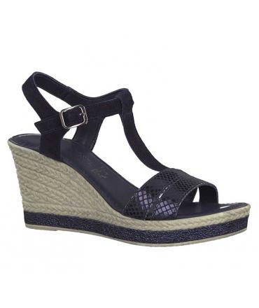 Marco Tozzi sandale à talon compensé bleu 28340-22, nu pieds salomé