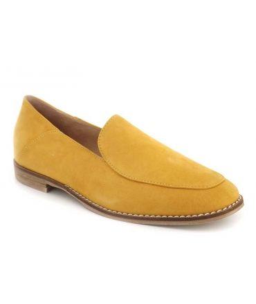 Fugitive Huron jaune mocassin en cuir nubuck pour femmes
