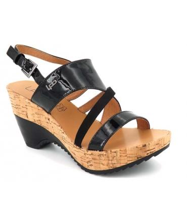 le prix reste stable Design moderne nouveau style de Ventes sandale compensée LPB Shoes Juliette vernis noir, Les P'tites Bombes