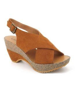 Compensé Lpb Shoes Lalie camel, sandale mode pour femme