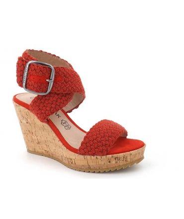 Chattawak Lady rouge, sandale compensée nouveauté