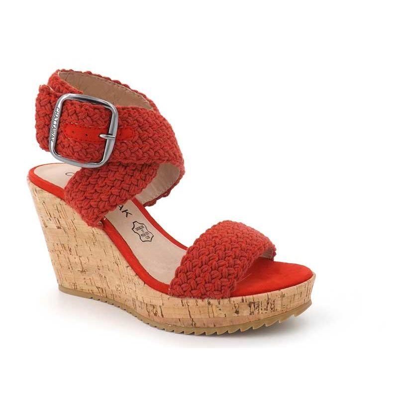 a5bfb6afb3a375 Ventes sandales Chattawak Lady rouge, nu pied femme talon compensé