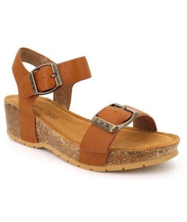 Lpb shoes sandale compensée Marielle camel