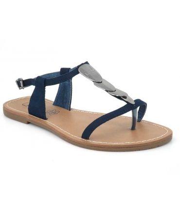 Sandale plate Lpb shoes pepita navy, semelle cuir bride salomé