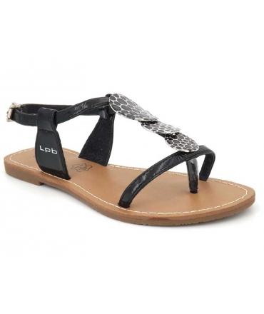 Sandale Lpb Shoes Pipa noir, semelle plate