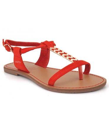 Sandale Lpb shoes Petunia rouge avec bijoux