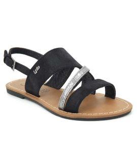 Lpb Shoes Phibby noir, sandale plate pour femmes