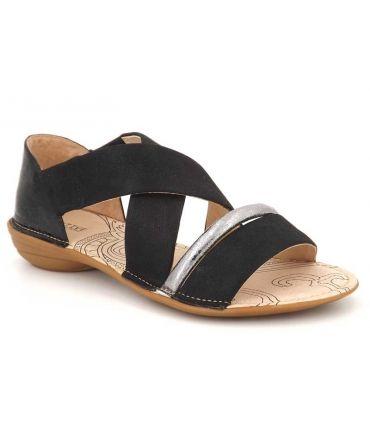 Sandale plate Fugitive Akto noir, nu pied confort pour femmes