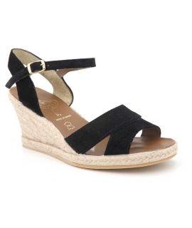 Espadrille compensée Kedzaro Victoria noir, sandale en cuir & corde