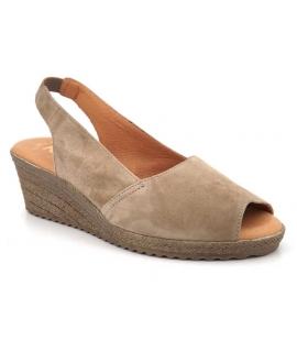 Kaola 191 taupe sandale compensée confortable pour femmes, spécial pieds sensibles