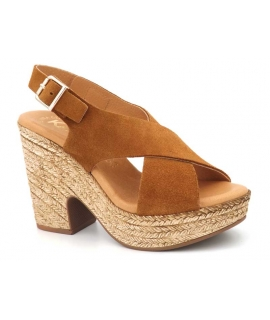 Sandales femmes Kaola 425 Camel | Compensé cuir marron