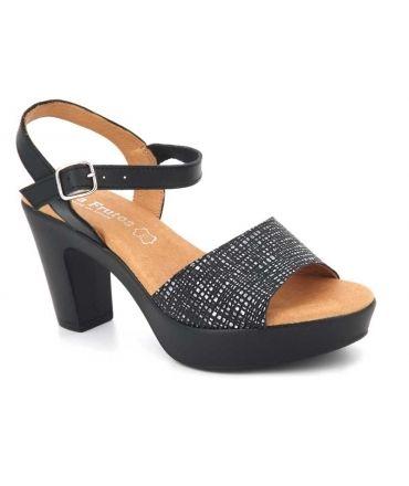 Sandale Eva Frutos 5869 noir, nus pieds confortables pour femmes