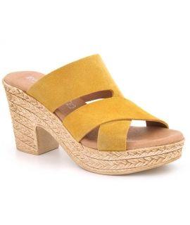 Mules à talon compensé Eva Frutos 8756 cuir jaune pour femmes