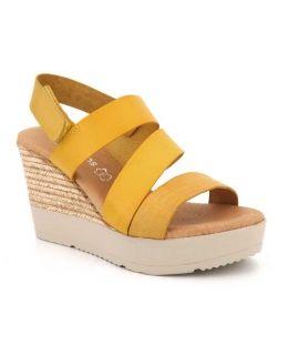 Nus pieds Eva Frutos 9608 jaune, compensé femme