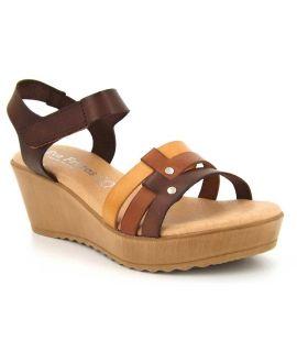 Nus pieds compensés Eva Frutos 9448 marron multi pour femmes