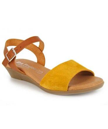 Eva Frutos 9039 moutarde, sandale petit talon